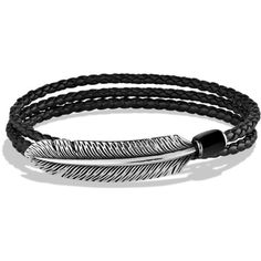 David Yurman Frontier Feather Triple-Wrap Bracelet in Black with Black... ($495) ❤ liked on Polyvore