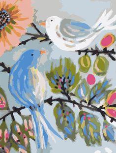 Modern Art Love Birds PRINT Blue White 11x14 by karenfieldsgallery, $18.00