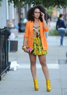 21st century Afrochic with natural hair. Yellow, orange and green.  @Leslie Charles-Simon  @Akeela Thompson  @Cindy Joseph @Monique Wenner  @Anita Bright