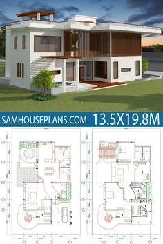 House Plan with 4 Bedrooms - Sam House Plans 4 Bedroom House Designs, 4 Bedroom House Plans, Duplex House Plans, Bungalow House Plans, Dream House Plans, Two Story House Design, 2 Storey House Design, Two Storey House, Bungalow Haus Design