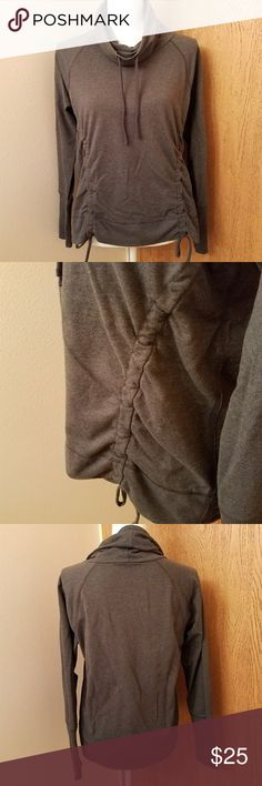 Cowl Neck Hoodie NWOT. Dark gray in color. The runched front gives it some fun feminine dynamic. Cute and functional. Lucy Tops