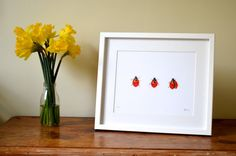 Ladybird print / picture. Art print of an original by EleGrafton