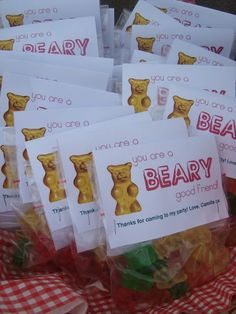 """You are a ""beary"" good friend."" ""Thank you ""beary"" much!"" (with gummy bears)"