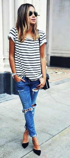 stripes and ripped denim. classic.
