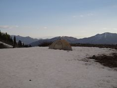 Camping up Mount Timpanogos with view of the Wasatch Mountains