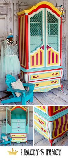 Circus Inspired Whimsical Armoire by Tracey's Fancy | Painted Furniture Ideas | Colorful Furniture Ideas | #furnituremakeover #whimsical #circus #furnituredesign #furniture Painted Armoire | Painted Wardrobe Painted Shrunk