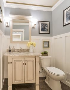 An incredibly classy guest bath suite. Love that wall treatment!