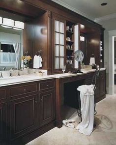 Pull-Out Mirror and Curtained Cabinet Doors