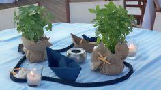 #στολισμος βάπτισης κεντρικη συνθεση με βασιλικους ναυτικο σχοινι, καραβακια, αστεριες, βοτσαλα και κεράκια