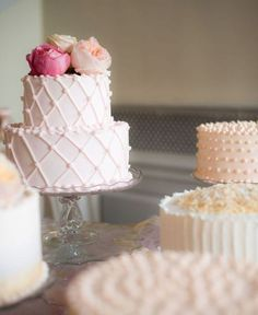 Super pale pink wedding cakes