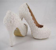 d08e55784bd Handmade Ivory Beaded Lace Bridal Shoes Pearl High Heel Wedding Shoes UK3-8