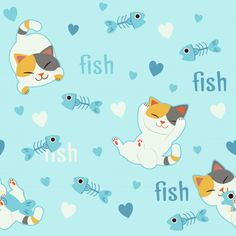 The seamless pattern background for character of cute cat in love with fishbone. Cute Backgrounds, Cute Wallpapers, Kids Prints, Colour Images, Background Patterns, Cute Pictures, Cat Love, Vector Free, Doodles