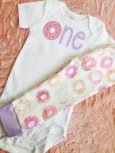 Baby donut. Donut baby outfit. Donut baby birthday. First birthday donut. Baby girl first birthday. Donut leggings. Donut shirt by LittleLoviesChic on Etsy https://www.etsy.com/listing/268783432/baby-donut-donut-baby-outfit-donut-baby