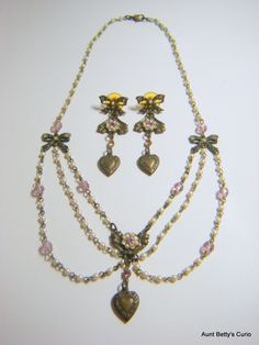 Dreamy Victorian 1980's festoon necklace and earring demi-parure made of Swarovski crystals, Lucite, faux pearls and brass.  Near-Mint . by AuntBettysCurio on Etsy