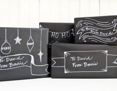 chalkboard wrapping paper, not entirely sure this is a good idea (smudging) probably better with same effect with just matte black paint and white sharpie marker Wrapping Ideas, Diy Holiday Wrapping, Wrapping Gift, Black Wrapping Paper, Black Paper, Christmas Crafts, Merry Christmas, White Christmas, Chalkboard Paper