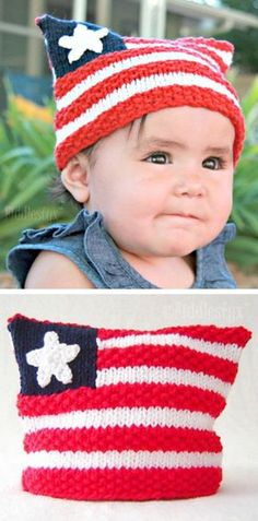 Knitting pattern for American Flag Hat - #ad Cute hat in 6 sizes from Newborn to Adult. Great stars and stripes hat to wear to the Fourth of July parade or any other patriotic celebration. More pics on Etsy