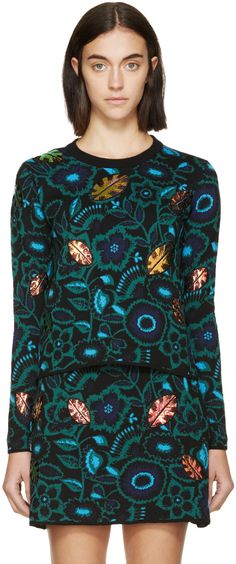 Kenzo Green & Blue Iridescent Leaf Sweater