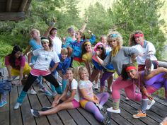 Most of the girls on 80s night. We threw an 80s workout party for the campers!