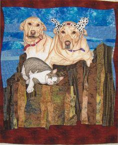 Animal portrait quilt by June Jaeger. Workshop, 2013 Quilt Camp, Jane's Fabric Patch (Oregon)