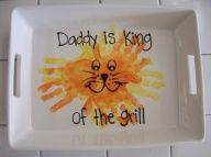 Fathers Day - Kids hand-prints baked into a dish for Dad.