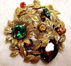 $50 Vintage Round Multicolored Rhinestone and Leaves Brooch Beautiful Setting of Leaves Green Brown Amber Red (J4)