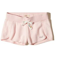 Hollister Reverse Terry Curved Hem Shorts ($20) ❤ liked on Polyvore featuring pink