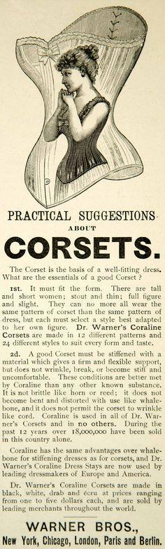 1891 Ad Warner Bros Women Corset Victorian Fashion Style Coraline YYC1