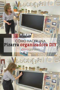 ¡En Decogarden nos enseñan a elaborar una pizarra organizadora reciclando una ventana! Diy Paso A Paso, Ideas, Shopping, Housekeeping, Wood Planks, Antique Wood, Cement Pots, Thoughts