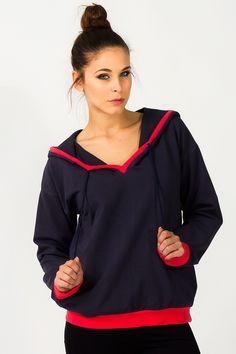 Granatowa bluza damska ze sznureczkami Athletic, Zip, Jackets, Fashion, Down Jackets, Moda, Athlete, Fashion Styles, Deporte
