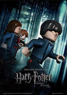 A Lego version of the movie poster for Harry Potter and the Deathly Hallows Part Please note that I did NOT make this! It's from the Lego website. Lego Harry Potter, Rowling Harry Potter, Harry Potter Stickers, Lego Film, Lego Tv, Lego Movie, Lego Poster, Poster S, Deathly Hallows Part 1