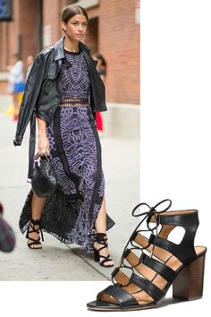 ELEVATE YOUR OUTFIT WITH LACE UP SANDALS You can't ever go wrong with a plain black high-heeled sandal, but a pair that laces gives any outfit an instant upgrade. Coach Larissa Heel, $225, coach.com