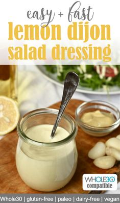 Creamy lemon dijon salad dressing is a delicious and versatile addition to your healthy salad! Made in just five minutes this healthy salad dressing is vegan paleo dairy-free gluten-free and keto compatible. Gluten Free Salad Dressing, Creamy Salad Dressing, Salad Dressing Healthy, Dairy Free Dressing Recipes, Salmon Salad Dressing, Paleo Dressing, Oil Free Salad Dressing, Tahini Dressing, Recipes