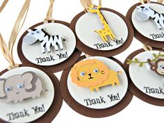 Set of 12 Gather your zookeepers and trek off into the jungle like party animals! Favor tags are a great way to thank your party guests for celebrating with you. Each 2.5 inch tag is adorned with raff