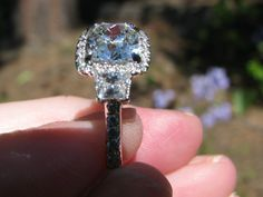 AVC ERD 3 stone with halo - by kathleenmv Vintage Cushions, Ring Designs, Sparkles, Halo, Diamond Earrings, Gems, Bling, Wedding Ideas, Engagement Rings