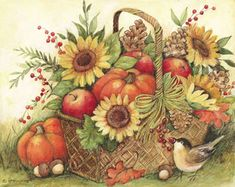 "The new ""Fall Basket"" Collection includes mat, garden flag and magnetic sign. Mat can be used stand-alone or as interchangeable inserts in our MatMates™ Outdoor Doormat trays (as shown, sold separately). Non-slip recycled rubber backing. Autumn Painting, Autumn Art, Tole Painting, Autumn Prints, Decoupage Vintage, Vintage Art, Fall Clip Art, Thanksgiving Art, Toile"