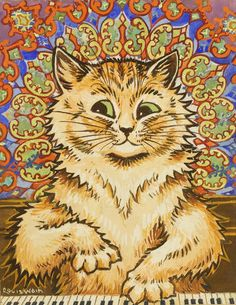 Louis Wain (British, 1860-1939) Cat playing a piano in front of a psychadelic backgroud