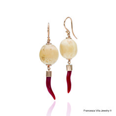 My Lucky Day Earrings in gold, red coral, vintage bone beads.