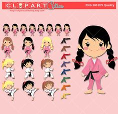 Karate cuties karate girls clipart cute digital graphics for scrapbooking or planner stickers reminders