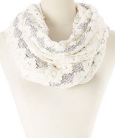 This Ivory & Gray Crochet Infinity Scarf by Rapti is perfect! #zulilyfinds