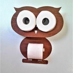 Owl - kit fun pour le stockage 2 rouleaux et un support pour un rouleau de papier toilette.