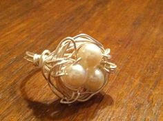 Bird's Nest Wire Wrapped Ring by jeannestiles on Etsy, $15.00