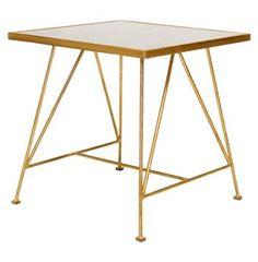 Goldwyn Hollywood Regency Gold Antique Mirror Side Table. #kathykuohome