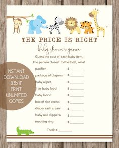 The Price Is Right Baby Shower Game – Jungle Theme - Baby Namen 2020 Baby Shower Games Uk, Baby Shower Fun, Baby Shower Parties, Baby Shower Themes, Shower Ideas, Shower Party, Games Jungle, Jungle Theme, Safari Theme
