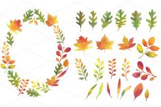 Watercolor Autumn Leaves Frames by Helga Wigandt on Creative Market