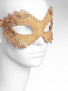 Metallic Glitter Gold Masquerade Mask With Rhinestones by SOFFITTA