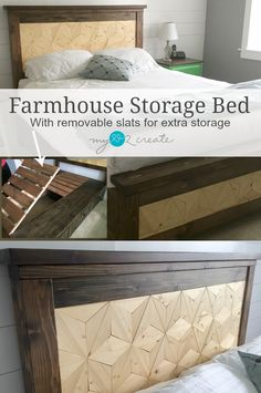 Farmhouse Storage Bed with removable slats for extra storage, MyLove2Create