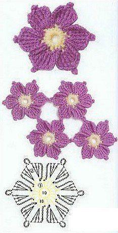Crochet flower diagram ༺✿ƬⱤღ https://www.pinterest.com/teretegui/✿༻