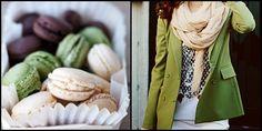 autumn colors, green, brown, macarons, jacket