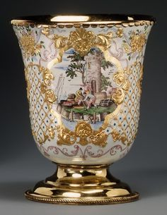 Beaker (one of a pair) Maker: Workshop of Charles Fromery (1685–1738) Enameler: Possibly by Christian Friedrich Herold (1700–1779)   Enameler: or possibly by J. G. V.   Date: 1730–40  Culture: German, probably Berlin  Medium: Painted enamel on copper, partly gilt; silver gilt