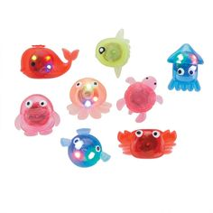 Kids love light-up toys! These assorted sea life designs feature 3 different flashing light shows. Each character is made from a firm see-through rubber. Love And Light, Light Up, 1000 Books Before Kindergarten, Life Design, Cool Toys, The Unit, Sea, Characters, Figurines